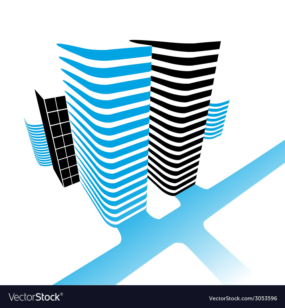 Office buildings and road vector