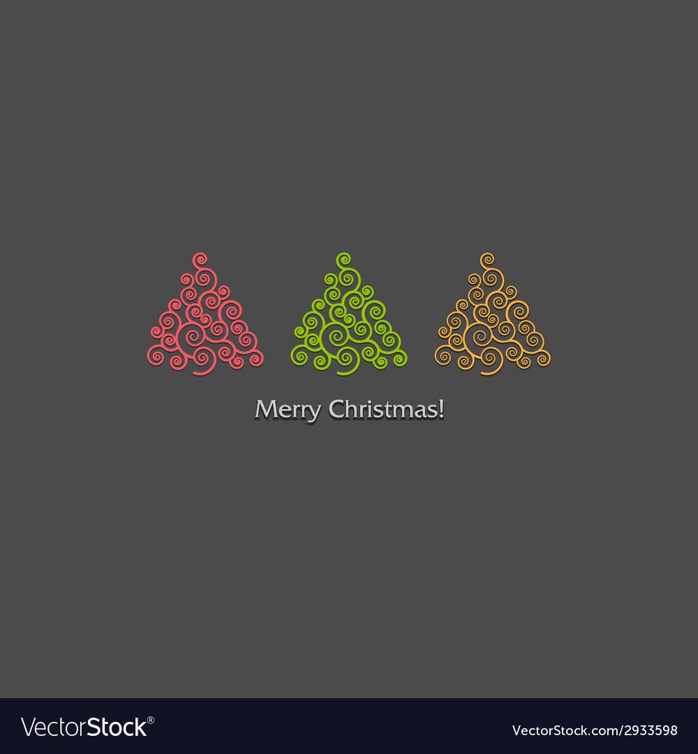 Festive card design with a row of christmas trees vector
