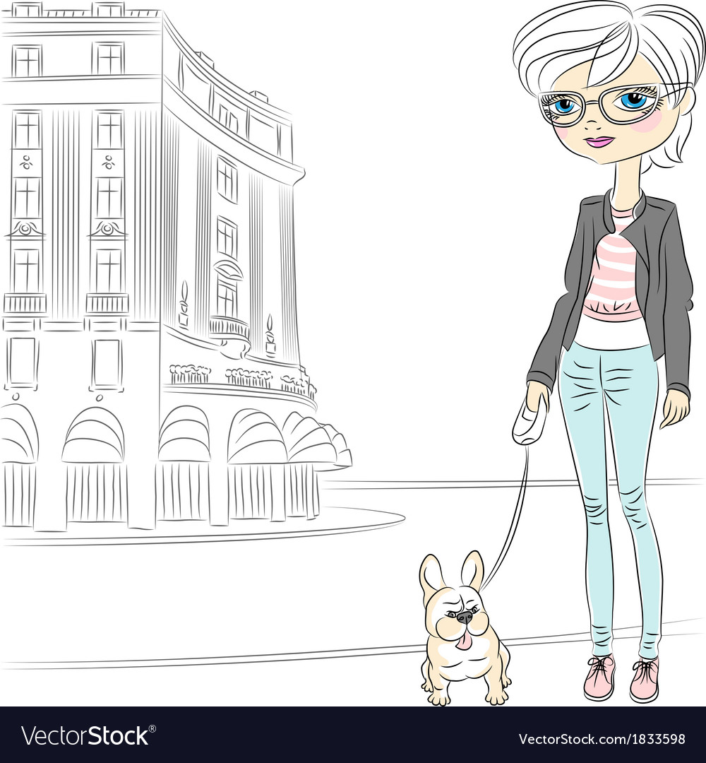 Hipster fashionable girl with dog vector