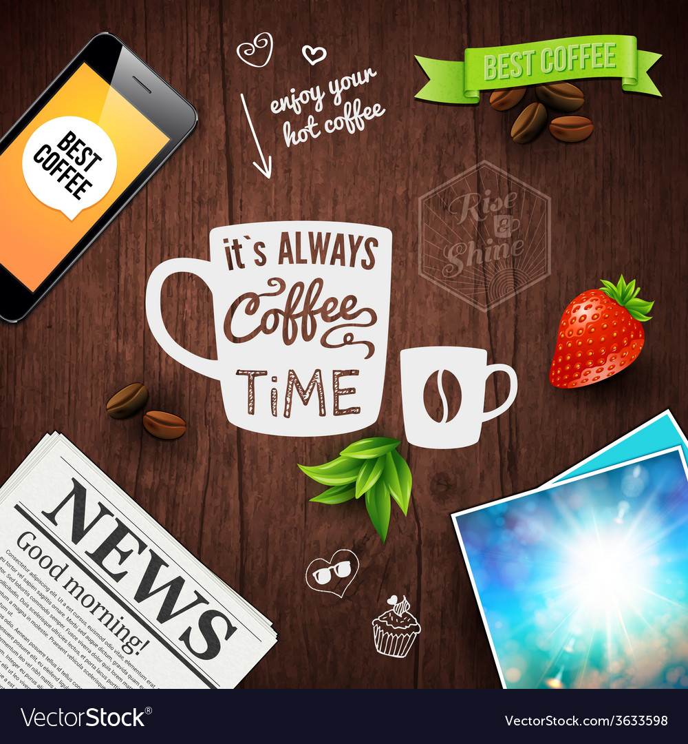 Premium coffee advertising poster typography vector