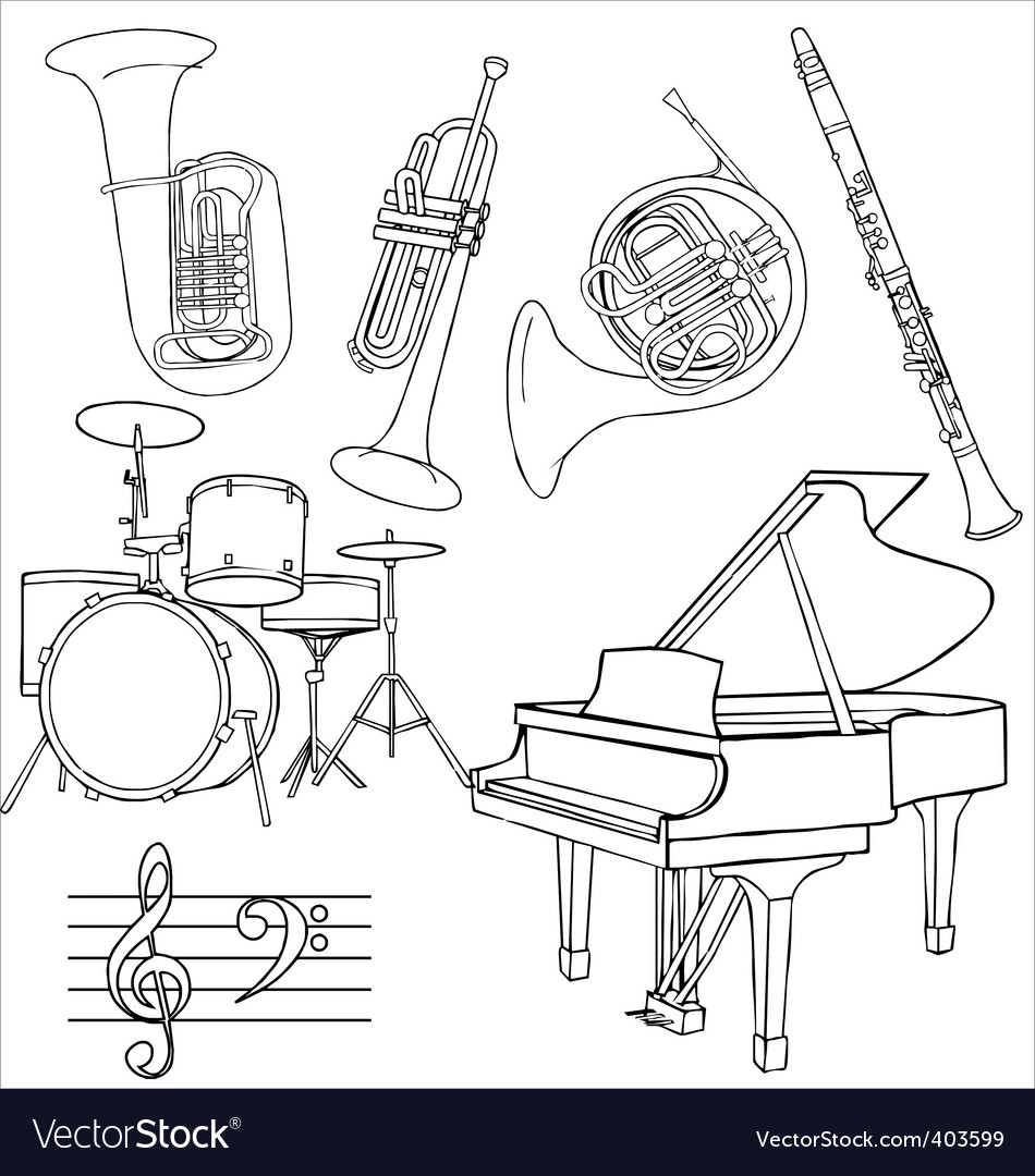 Jazz music instruments vector