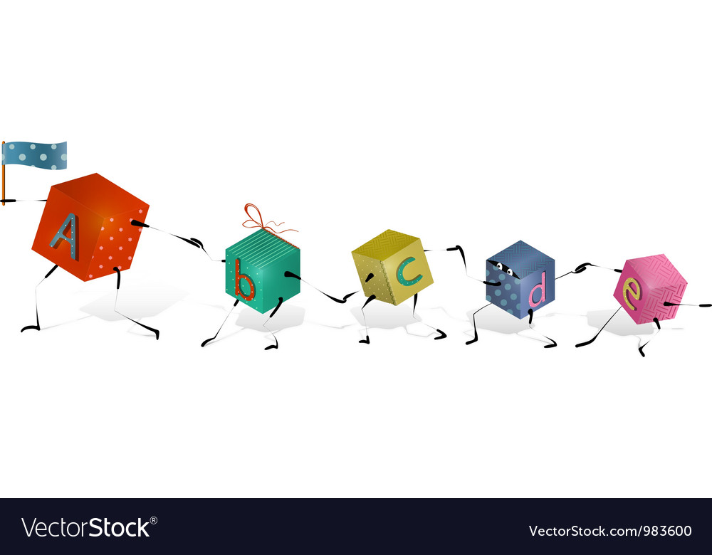 Funny toy blocks walking in a row vector