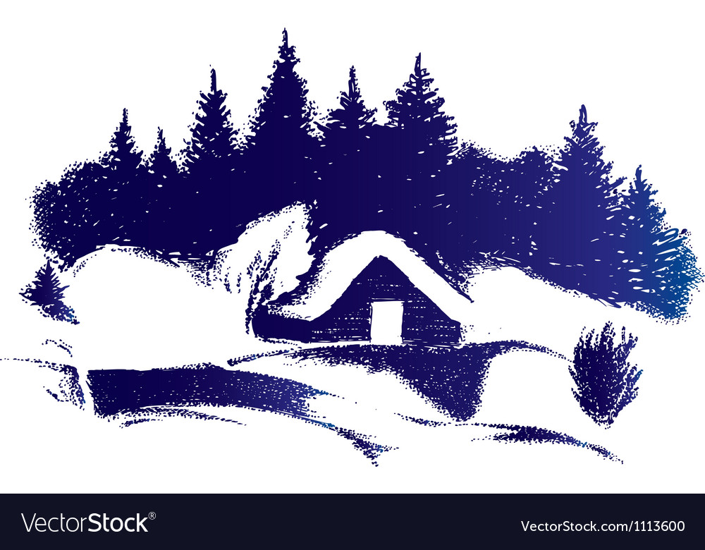 Rural winter scenery vector