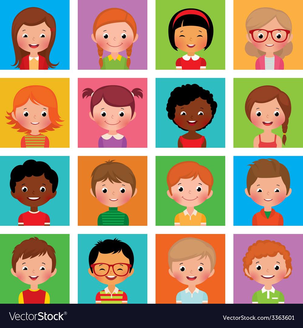 Set avatars boys and girls vector