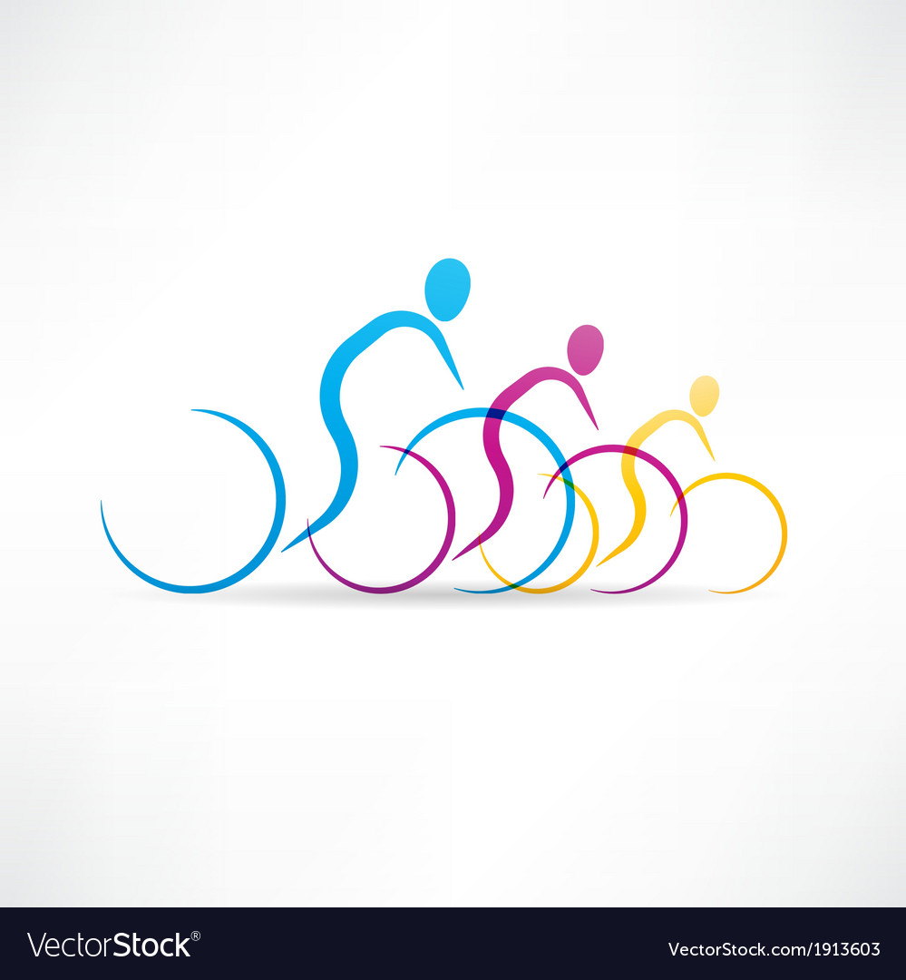 Biking group icon vector