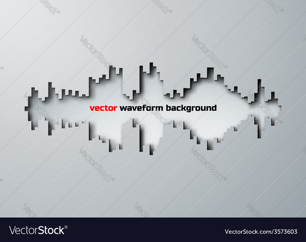 Cut hole silhouette of sound waveform with shadow vector
