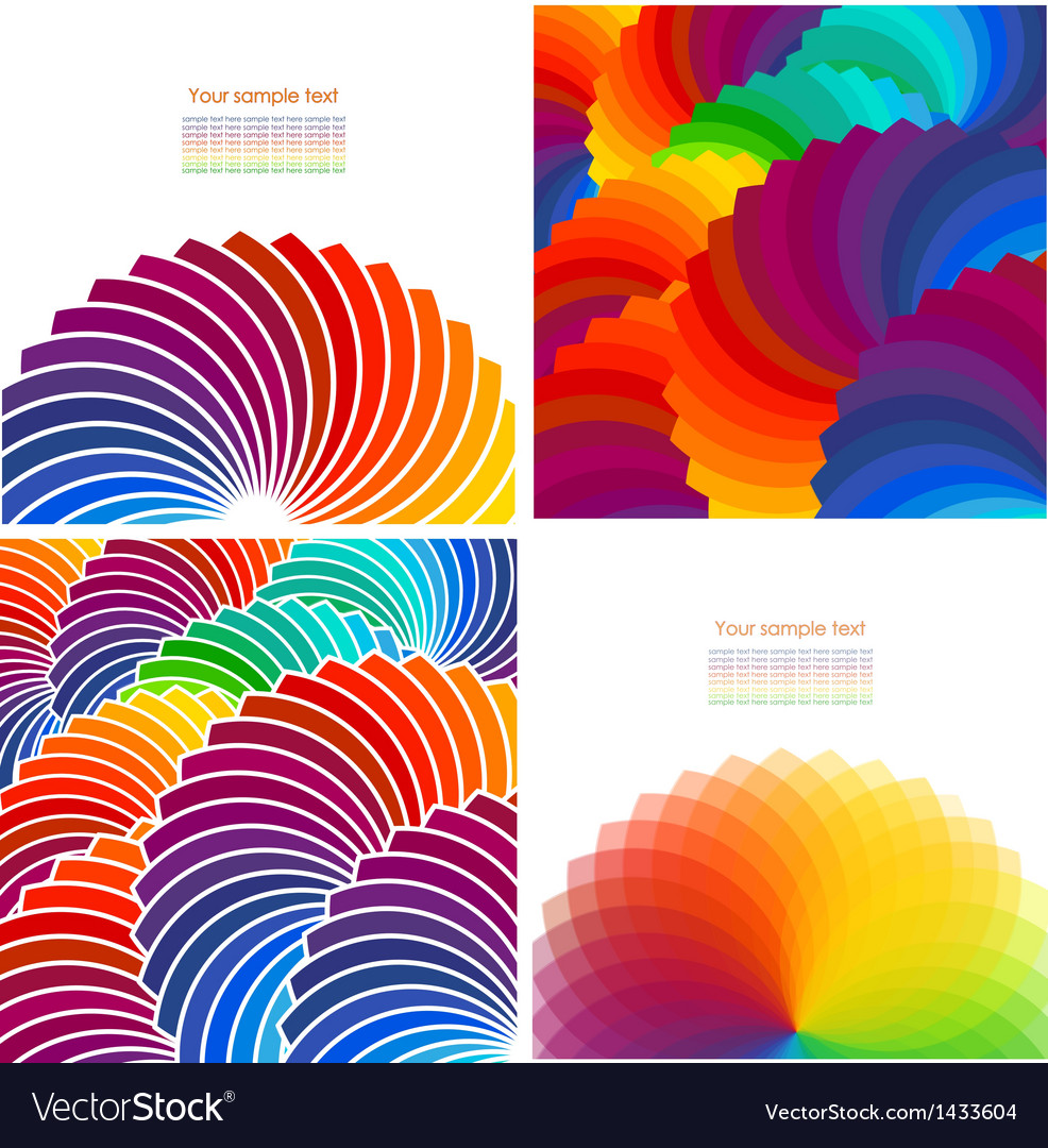 Set of four abstract background with spectrum vector