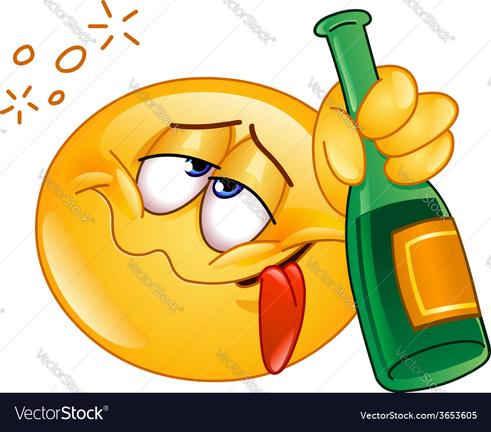 Drunk emoticon vector