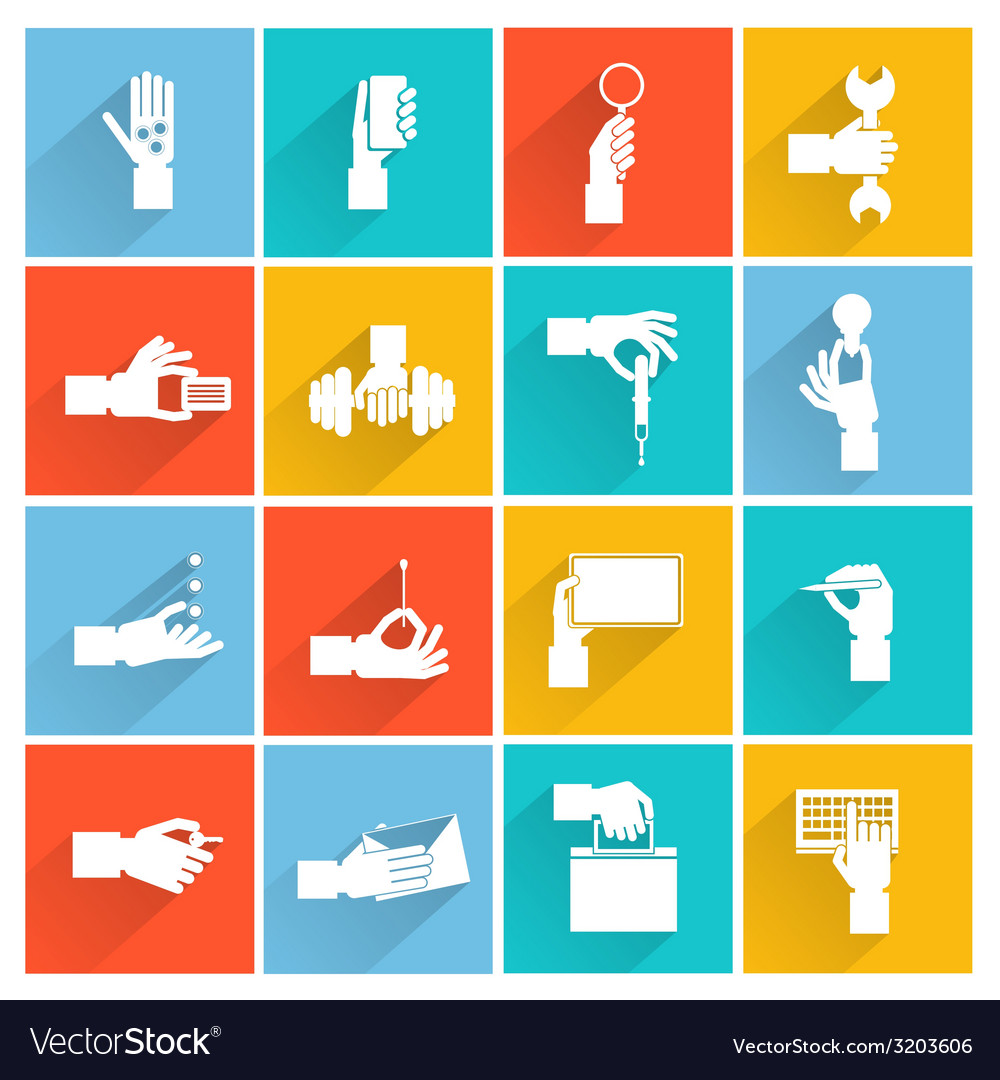 Hand holding objects white set vector