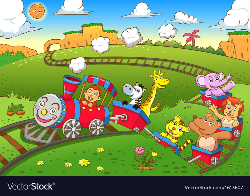 Cute animals train vector
