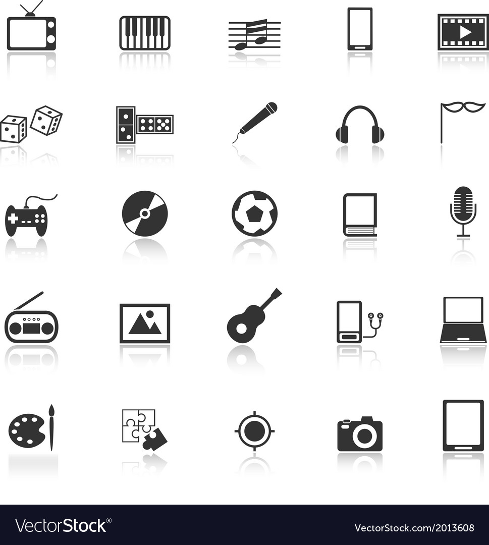 Entertainment icons with reflect on white vector