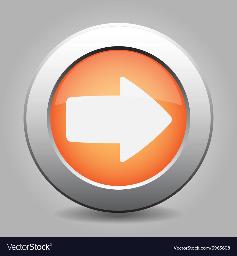 Metal button with the orange arrow vector