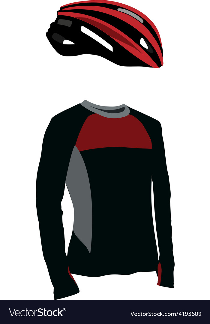 Red bicycle helmet and shirt vector