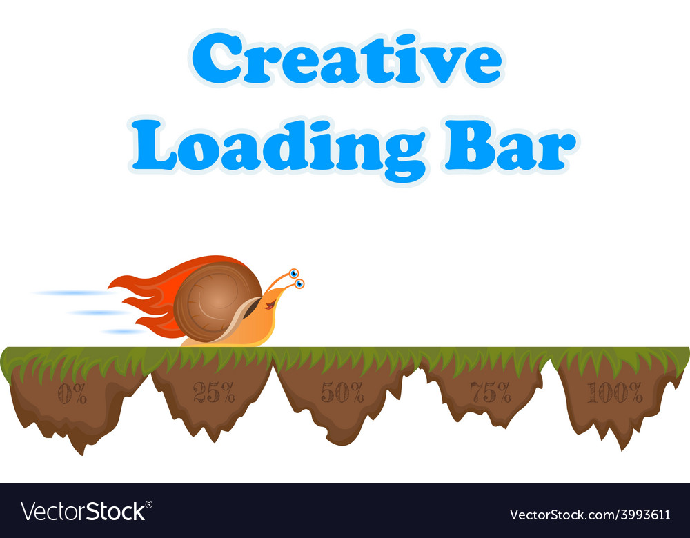 Fast and slow snail progress loading bar vector