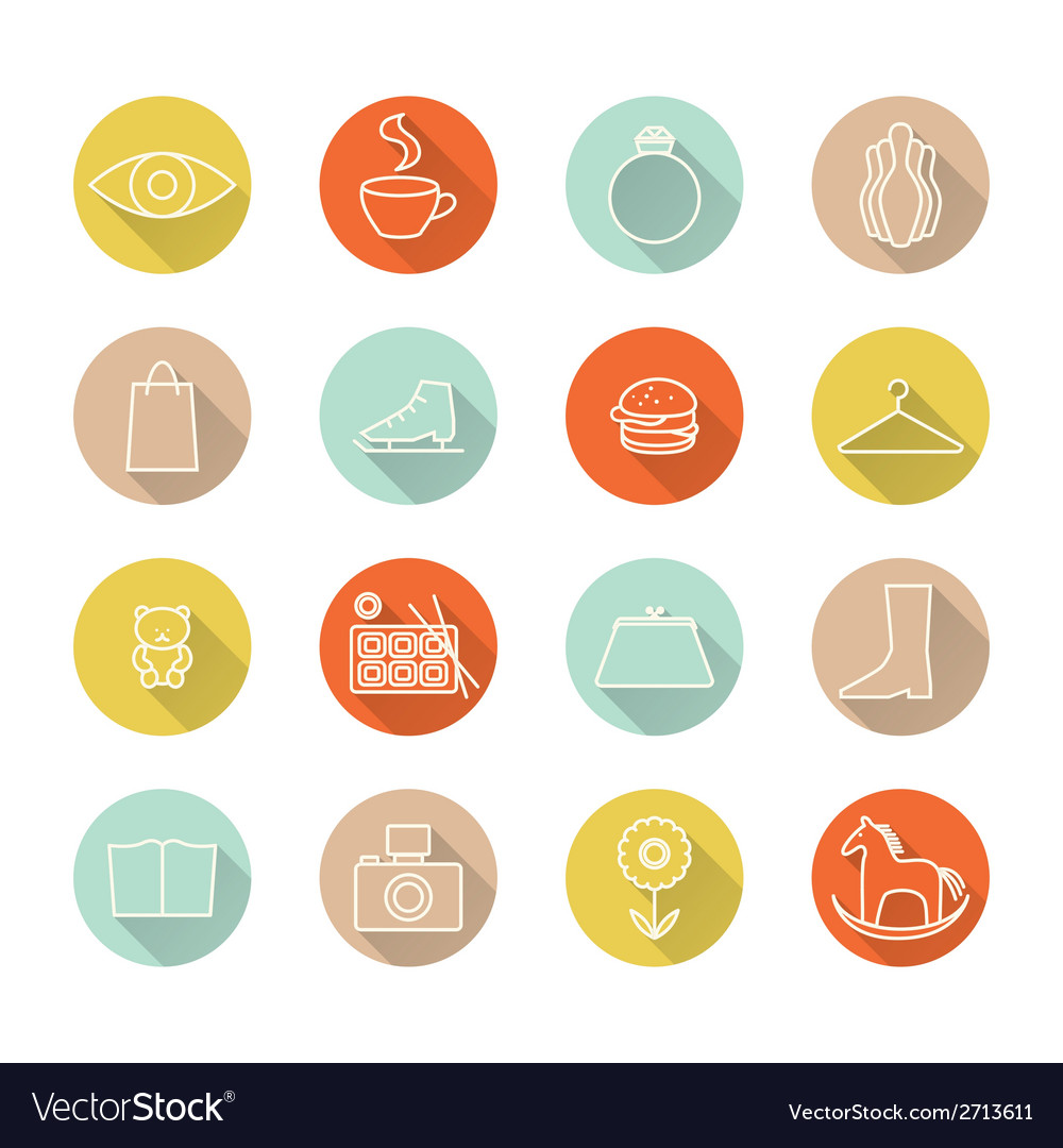 Icons set mall vector