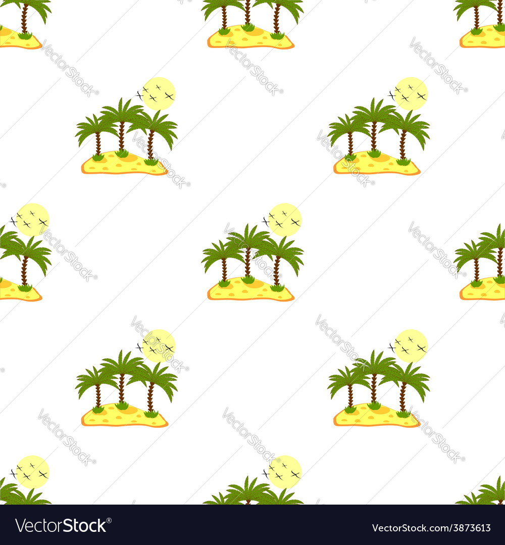 Seamless pattern sea island with palm trees and vector