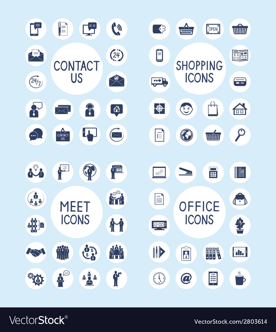 Internet business office and shopping icons set vector