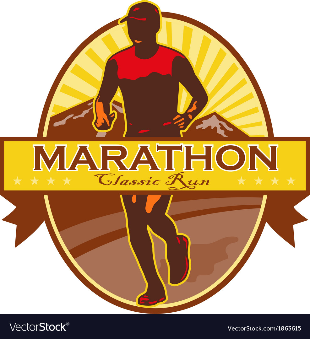 Marathon classic run retro vector