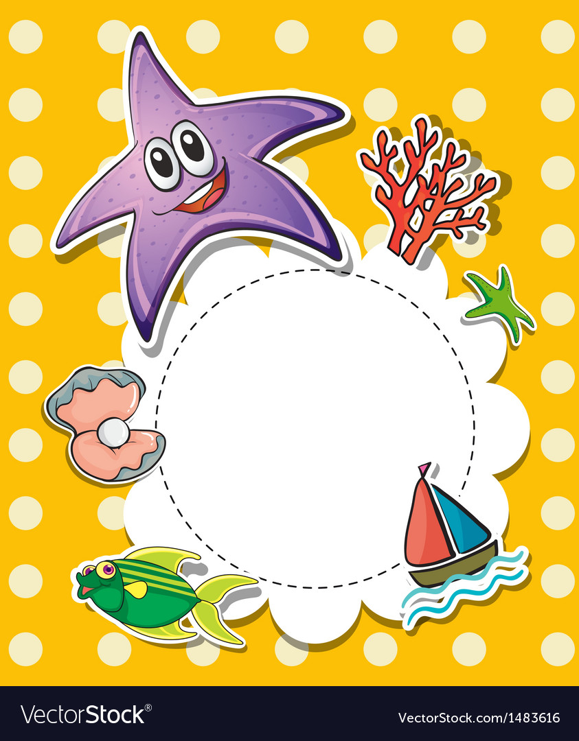 A stationery with creatures found at the beach vector