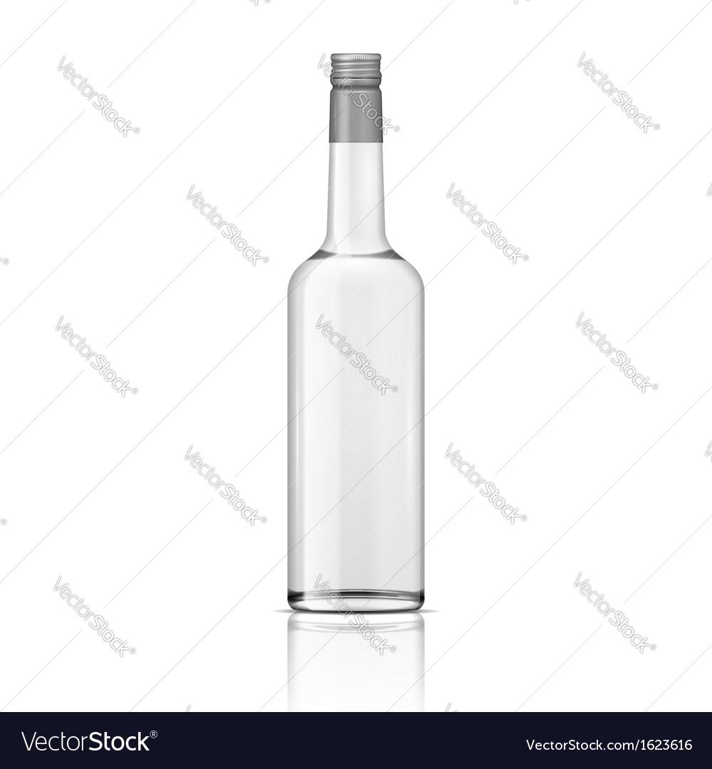 Glass vodka bottle with screw cap vector