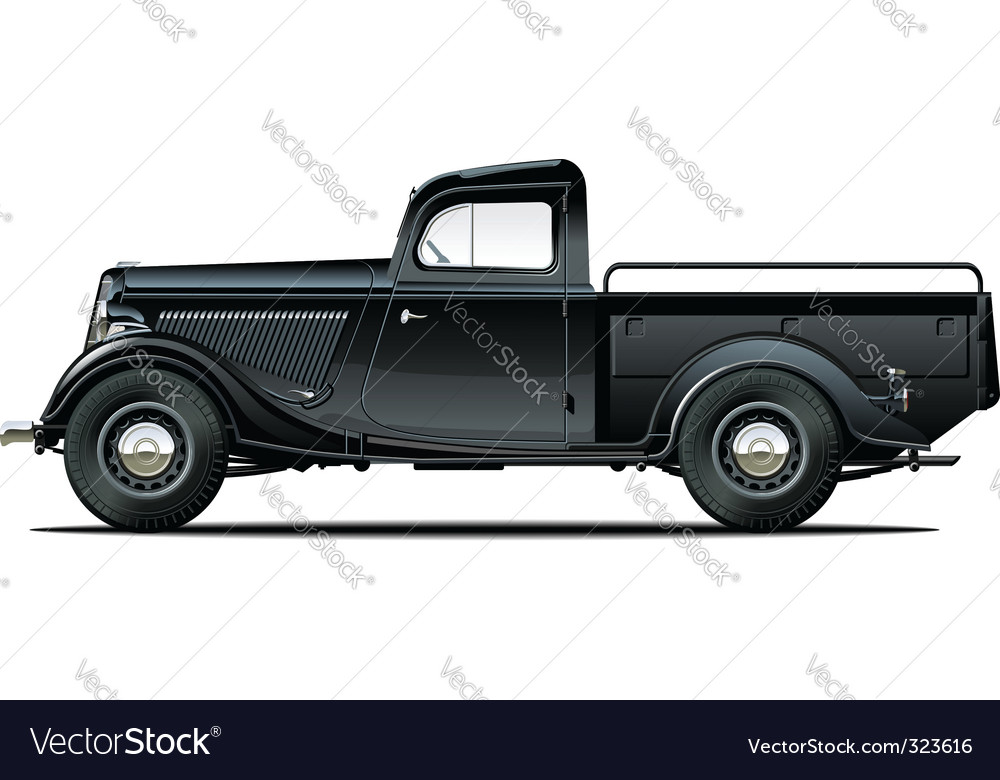 retro pickup vector