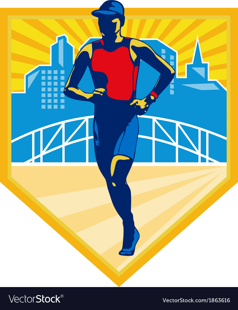 Triathlete marathon runner retro vector