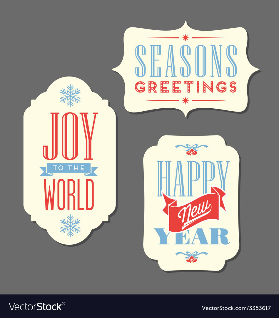 Christmas holiday tags vintage type design vector