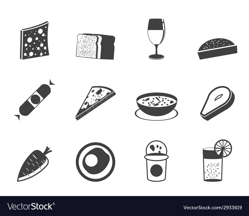 Silhouette food and drink icons 2 vector