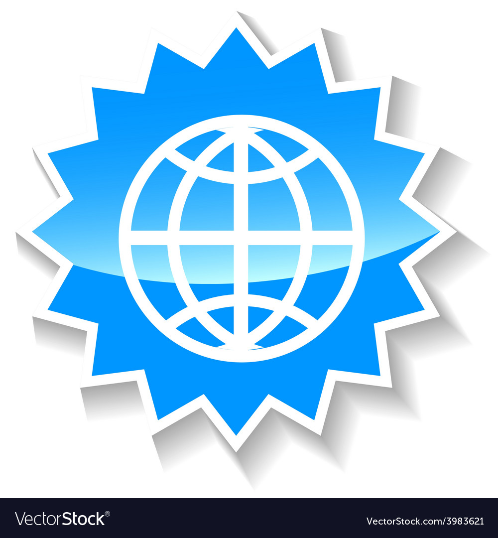 World blue icon vector