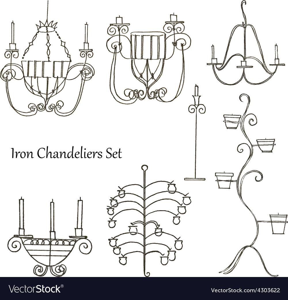 Iron chandeliers set vector