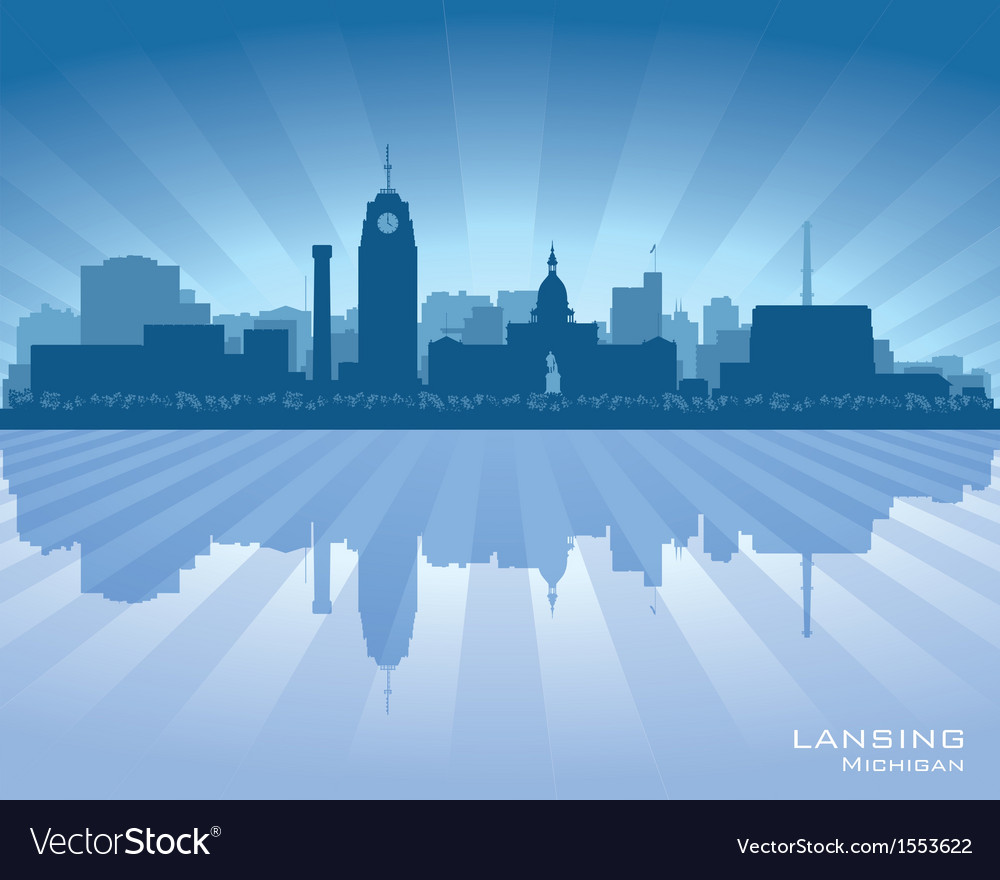 Lansing michigan city skyline silhouet vector