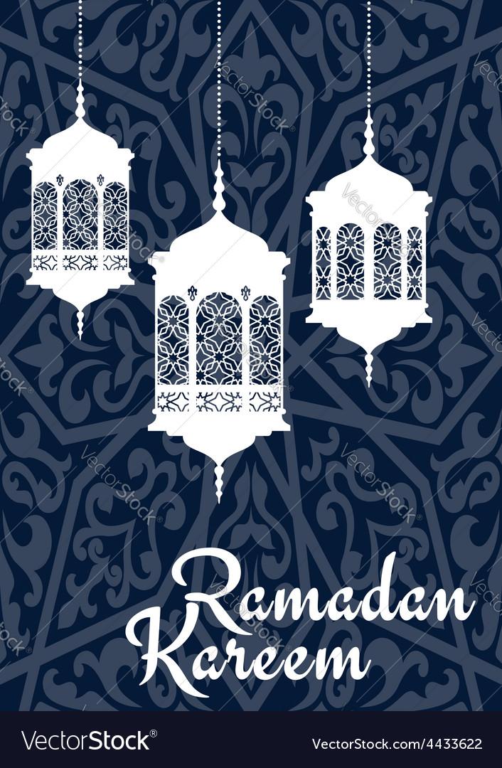 Ramadan kareem greeting card with oriental vector