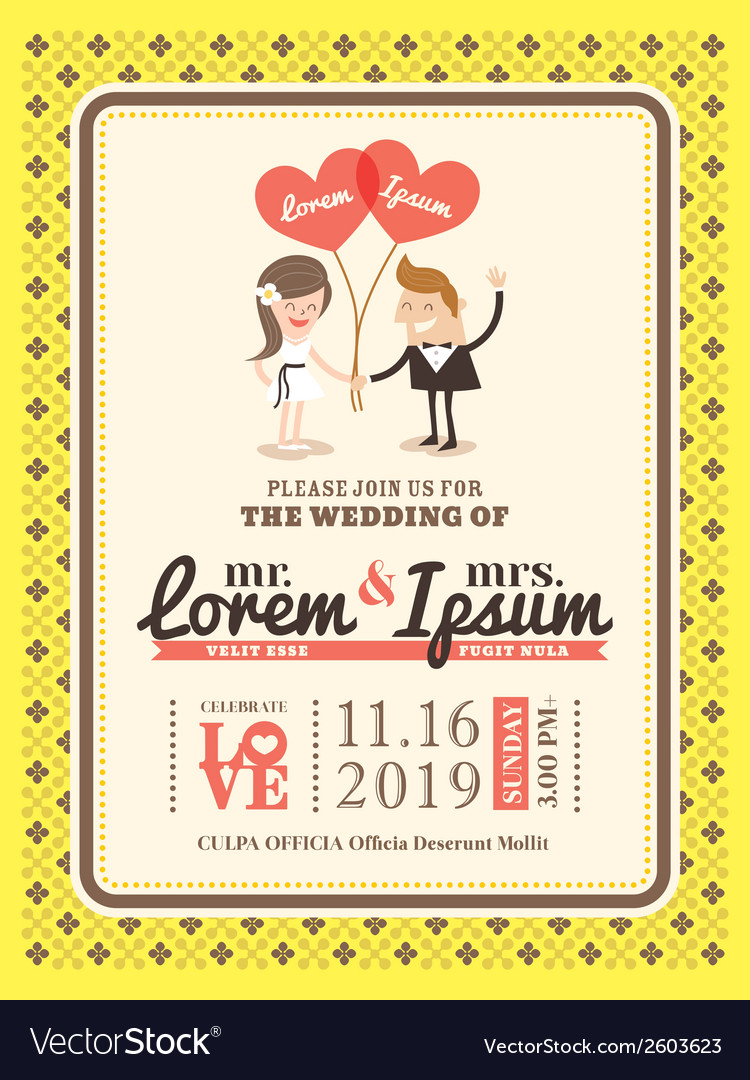 Groom and bride wedding invitation card template vector