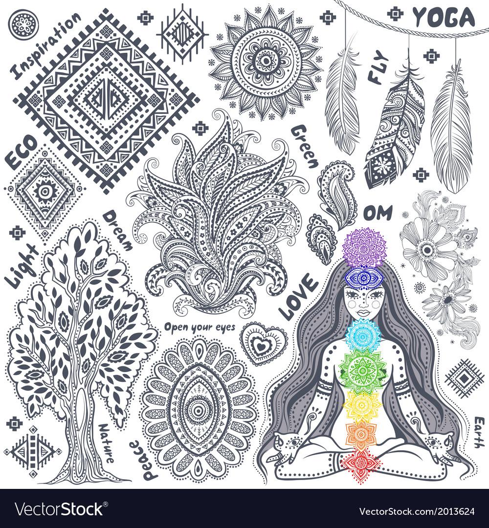Set of ornamental indian symbols vector