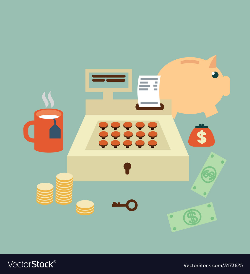 Cash register seller vector