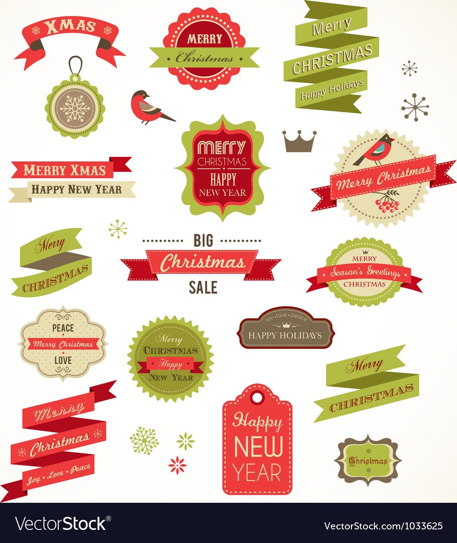 Christmas vintage labels elements and vector