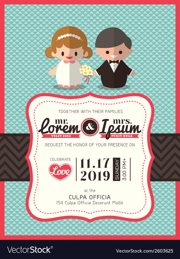 Groom and bride icon wedding invite card template vector