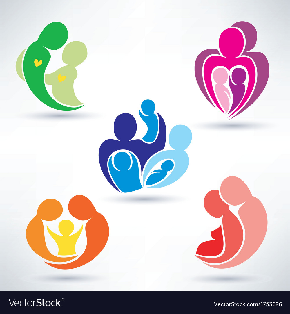 Abstract family icons set vector