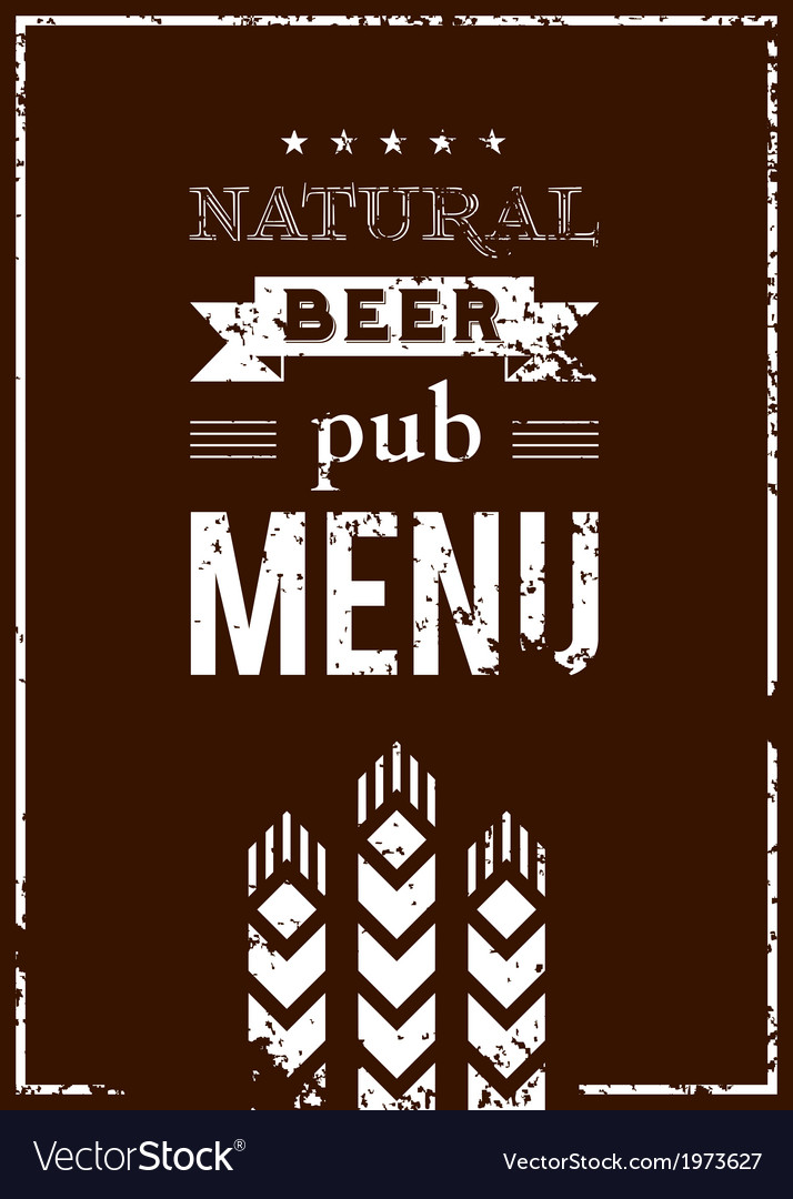 Beer menu for the pub vector
