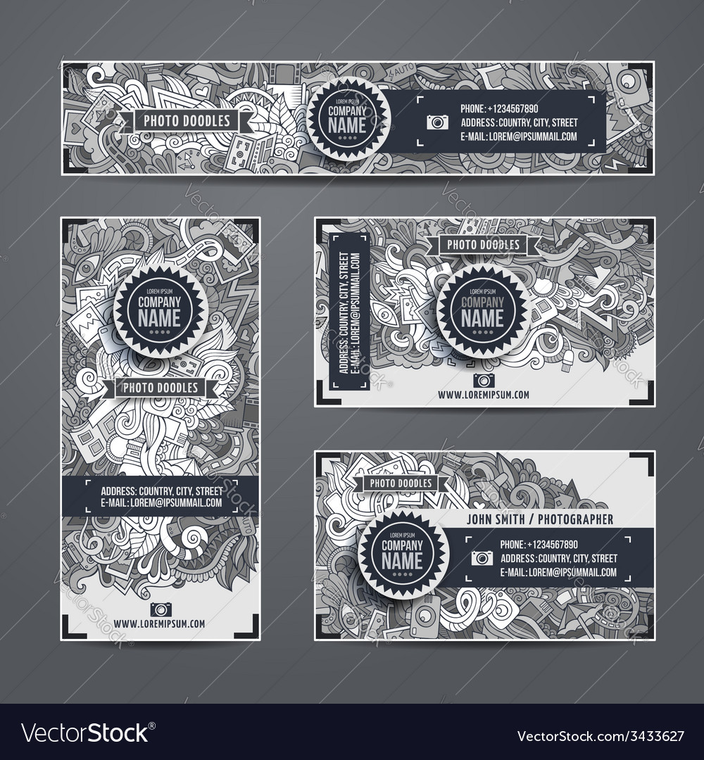 Corporate identity doodles photo theme vector