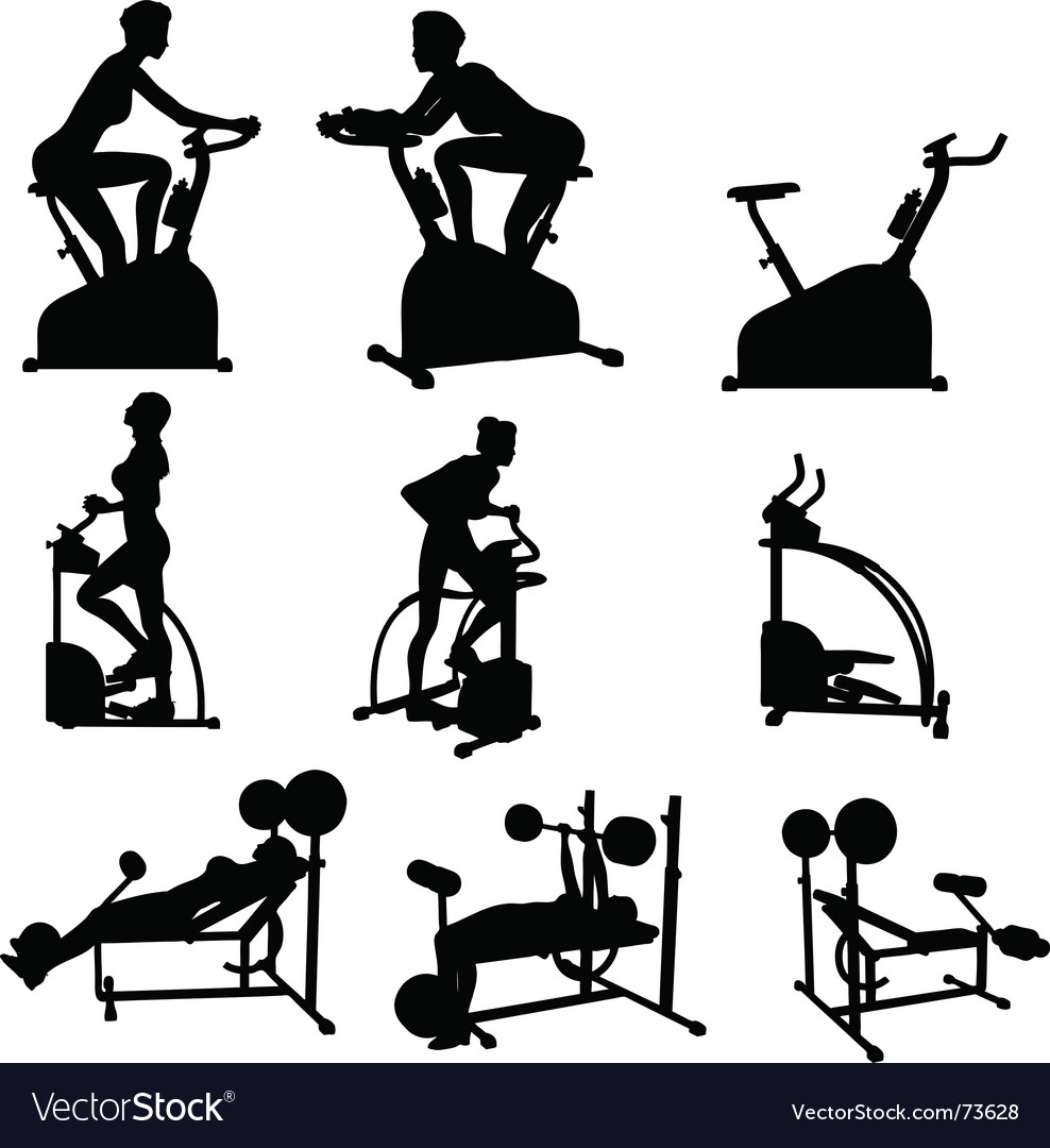 Female exercise silhouettes vector
