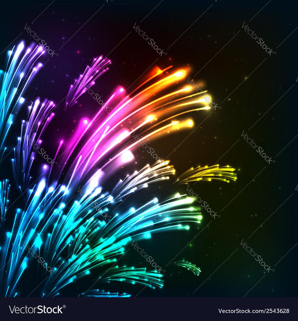 Rainbow colors neon fireworks vector
