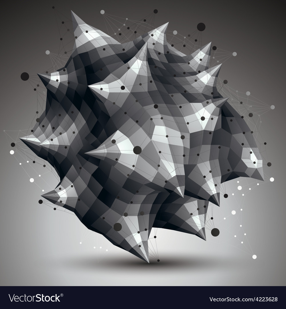Spatial monochrome digital object 3d technology vector