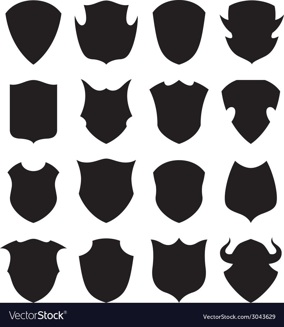 Black and white shield silhouette vector