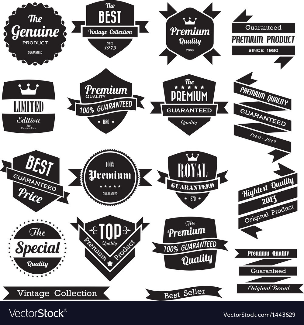 Set of retro vintage badges and labels vector