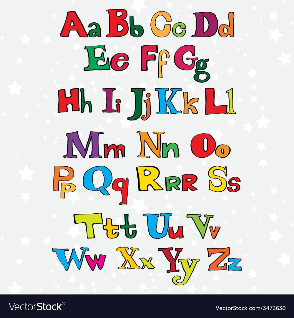 Christmas cartoon alphabet vector