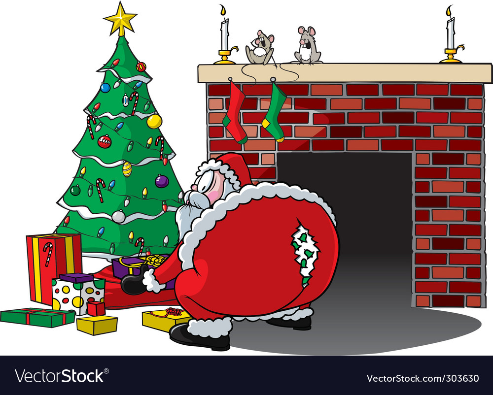Santa rips pants vector