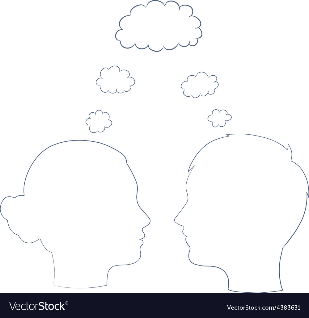 Boy and girl heads thinking on same way vector