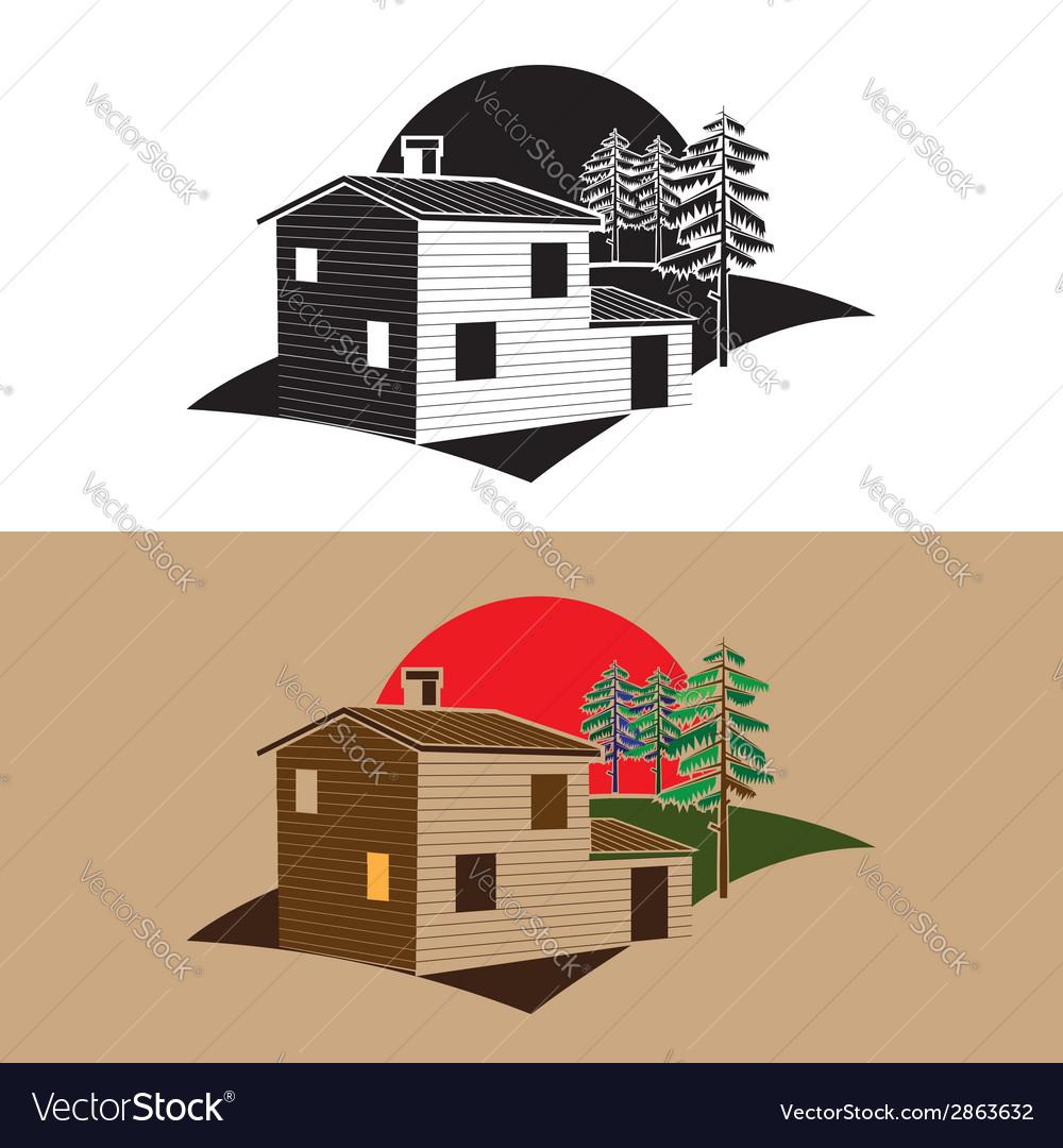 Stylized block house vector