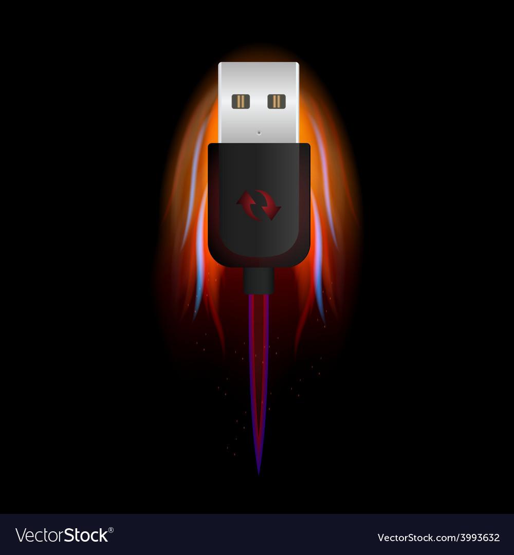 Usb on fire vector